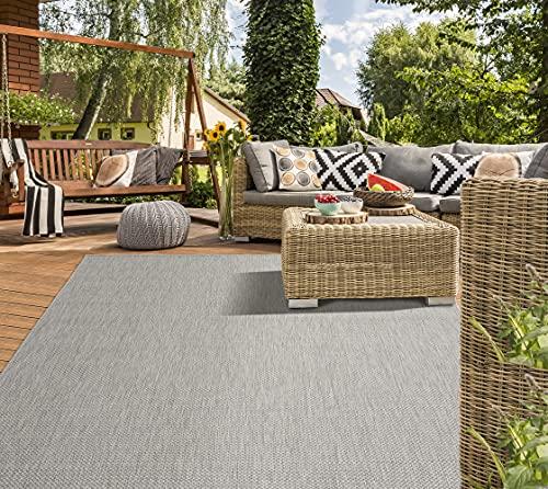 Mia´s Teppiche Lara Flachgewebe In-& Outdoor Teppich UV-und WitterungsbeständigGrau 80x150, 100% Polypropylen, Grau, 80x150 cm