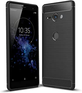Sony Xperia XZ2 Compact Case, TopACE Ultra Thin Carbon Fiber Scratch Resistant Shock Absorption Soft TPU Protective Cover for Sony Xperia XZ2 Compact (Black)