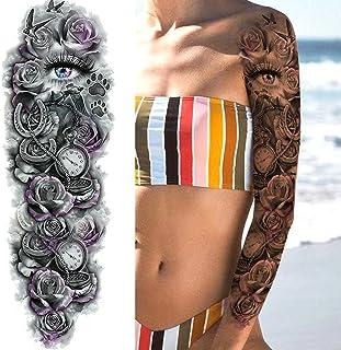 Tijdelijke Tatoeages 3 Vellen Sexy Lange Volledige Arm Rose Klok Tijdelijke Tatoeages Voor Mannen Vrouwen Tatoo Body Been ...