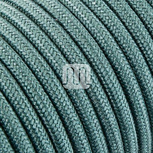 Cavo elettrico tondo rotondo rivestito in tessuto colorato Filato Grezzo Verde Salvia 10 metri 2x0,75 per lampadari, lampade, abat jour, design. Made in Italy!