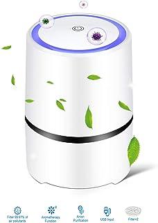 Purificador de aire, vivienda, dormitorio, filtro HEPA auténtico, modo de sueño silencioso, 3 velocidades de viento, contra humo, olores, polen, polvo y diente de mascotas