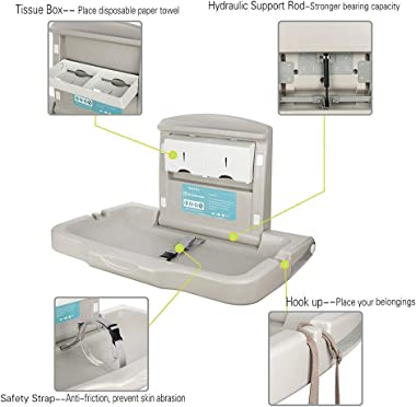 Modundry Fold-Down Baby Changing Diaper Station - Horizontal Wall Mounted, Sturdy & Durable with Safety Straps for Commer
