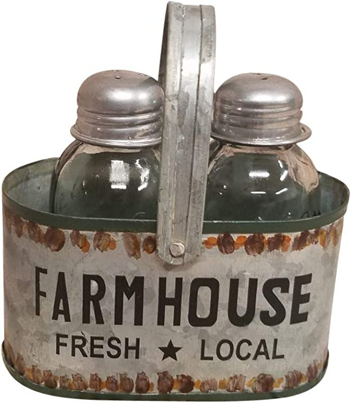 Vintage Salt And Pepper Shaker Set In Farmhouse Tin Caddy