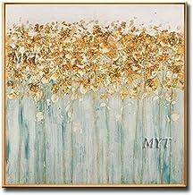 لوحة زيتية مرسومة باليد من SANSNMI على قماش ونجوم ذهبية لوحات جدارية فنية لغرفة المعيشة وديكور المنزل غير مؤطرة, 120cmx240cm