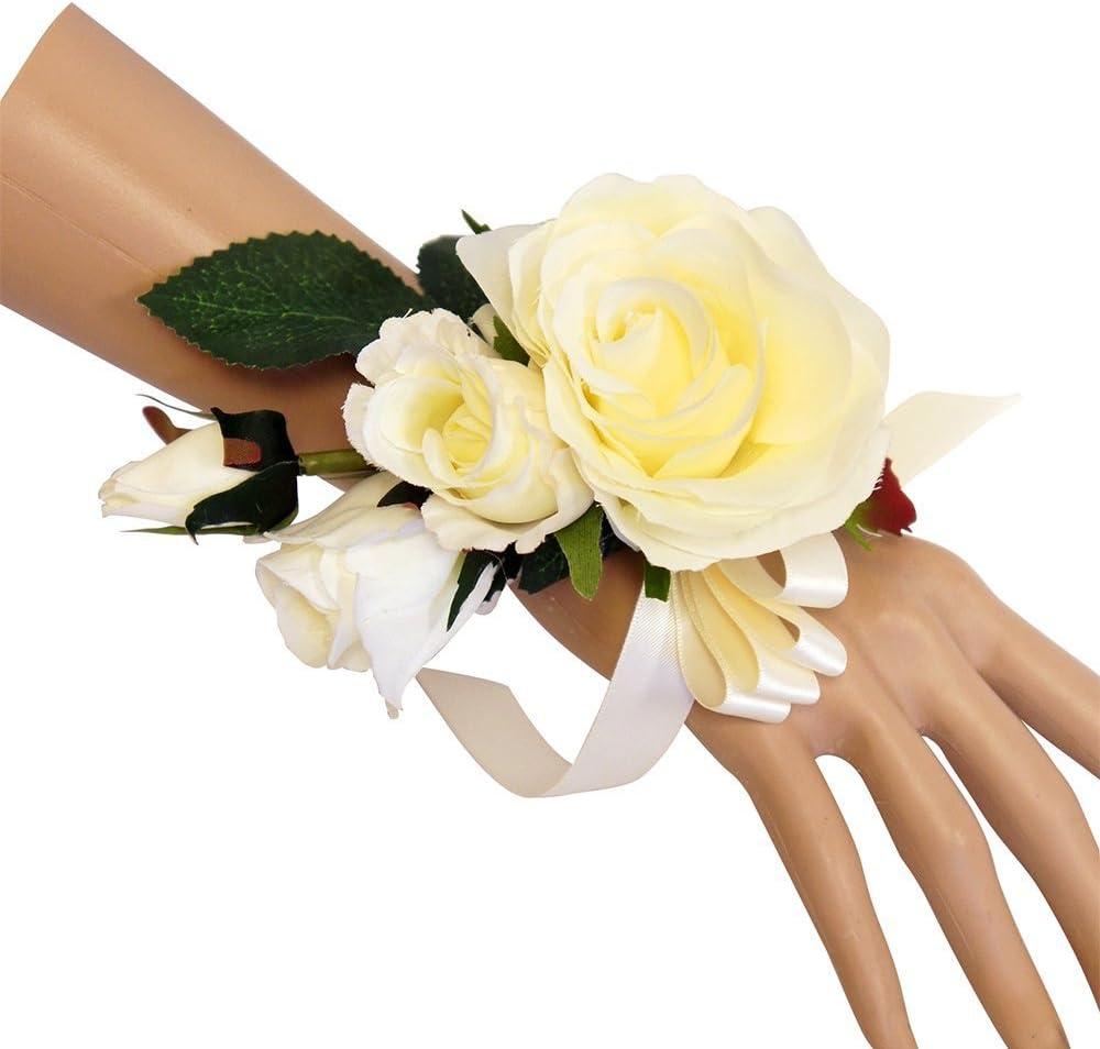 Wrist Corsage Ivory Rose with fuchsia ribbon on pearl bracelet