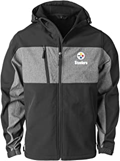 NFL Pittsburgh Steelers Mens Zephyr Softshell Jacket, Black/Grey, X-Large