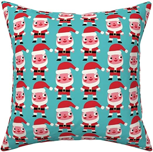 Roostery Throw Pillow Santa Santa Claus Christmas Whimsical Holiday B104 Print Linen Cotton Canvas Knife Edge Accent Pillow 18in X 18in Optional Insert Home Kitchen