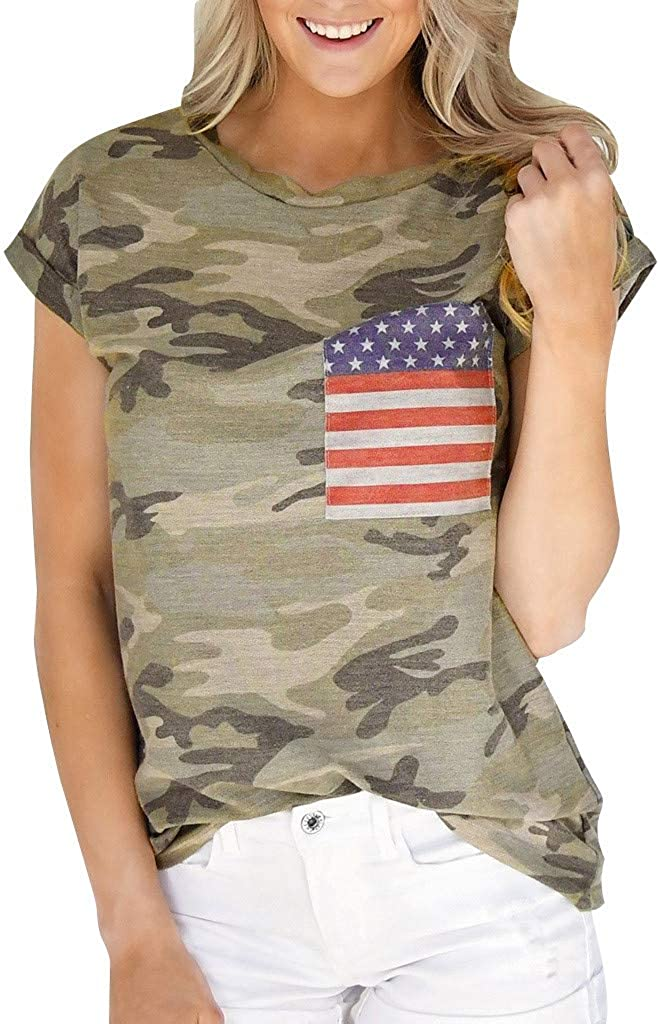 hositor T Shirts for Women Women Camouflage Short Sleeve American Flag Print T-Shirt Casual Tee Top Blouse