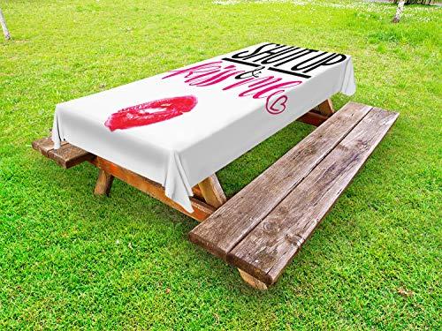 ABAKUHAUS Liebe Outdoor-Tischdecke, Lippenstift-Fleck-Beschriftung, dekorative waschbare Picknick-Tischdecke, 145 x 265 cm, Rosa-Pink und Schwarz