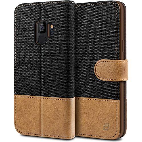 BEZ® Coque SamsungS9, Etui pour Samsung Galaxy S9 Housse en Cuir de Protection, Portefeuille en Cuir Polyuréthane, Crochet, Pochette Monnaie, Fermeture Magnétique, Noir
