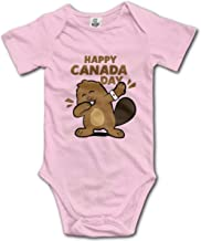 XHX Newborn Baby Beaver Dabbing Canada Day Short Sleeve Romper Onesie Bodysuit Jumpsuit
