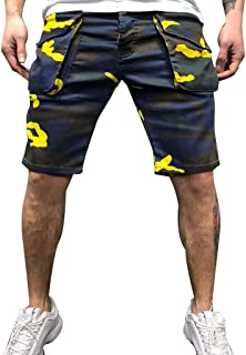 PERSOLE Men's Colorful Camouflage Shorts Cotton Multi Pockets Summer Casual Jogger Overalls Short Pants