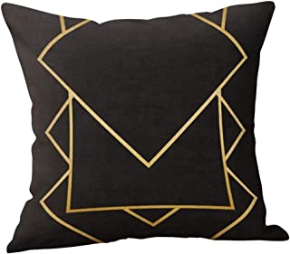 TOPBIGGER Black and Yellow Zipper Closure Pillow Case Throw Cushion Cover Christmas Cushions Cover, Snowflake Christmas Pillow Cover 45 cm x 45 cm