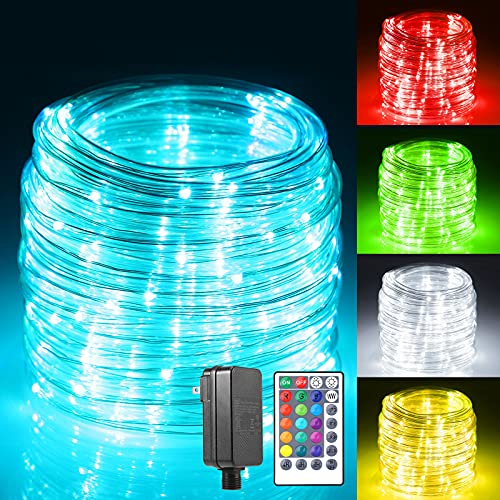 B-right RGBW Rope Lights Outdoor, 17 Colours String Lights with Remote Timer Plug 20 Modes Low Voltage Rope Lights 49ft 150 LED Connectable Waterproof Lights Rope for Bedroom Tree (Warm & Cool White)
