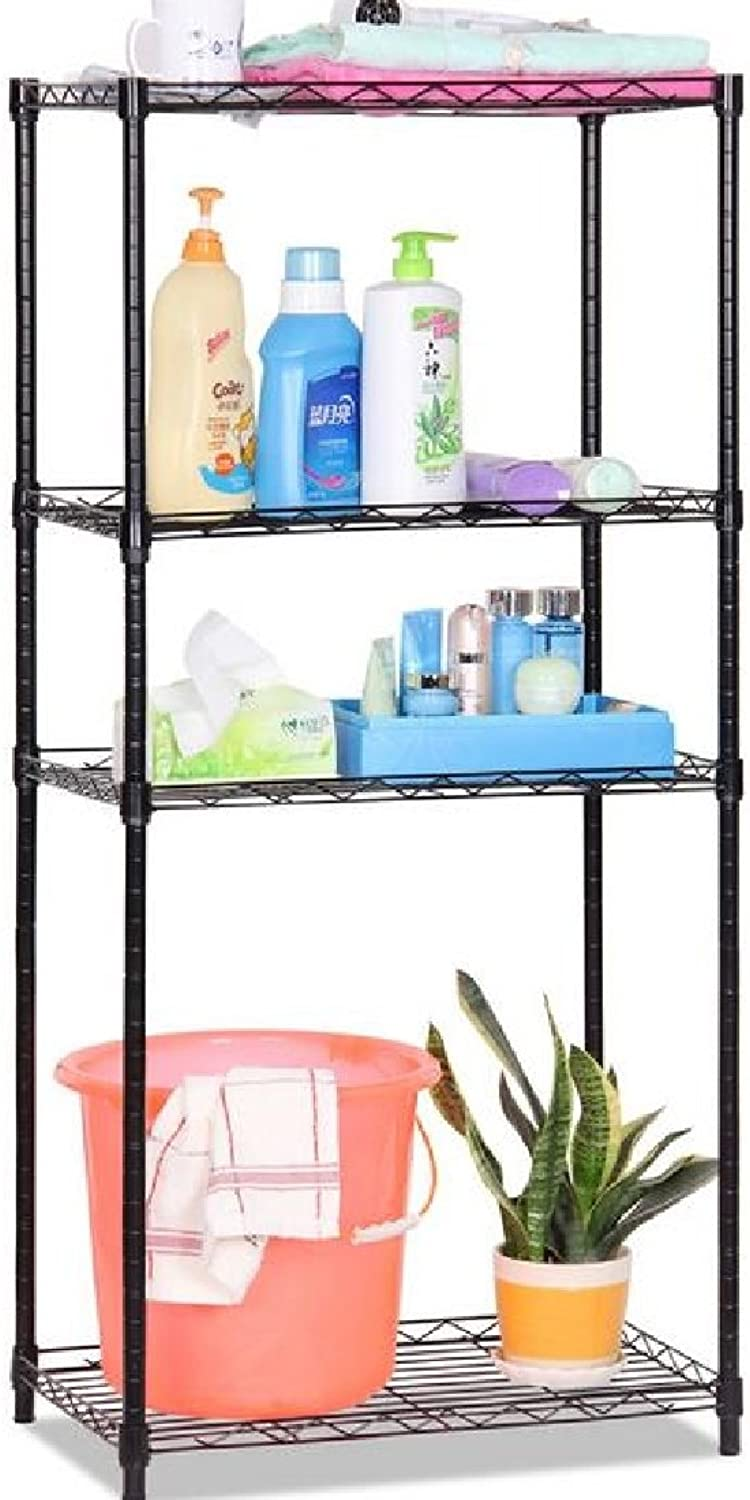 Coolred Shelving Unit Expandable Purpose Casters Wire Storage 4-Shelf Kitchen Cabinet Black 4 Shelves