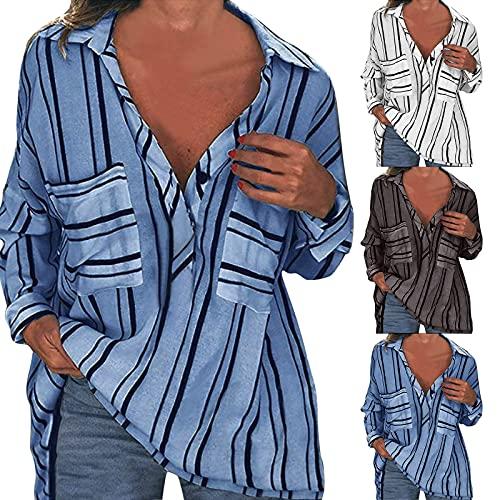 XUJY Camisa informal a rayas con solapa, blusa para mujer, cuello en V, holgada, informal, manga larga, túnica, elegante, francesa con botones, A1., M