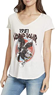 William Rast Womens V-Neck Casual Graphic T-Shirt