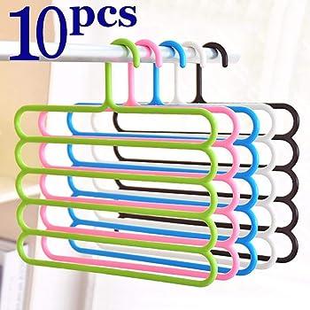 PROTOWARE Pants Clothes Hanger Wardrobe Storage Organizer Rack, 32l x 1b x 33h cm (Assorted Colour) (Pack of 10)