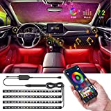 Speclux Bluetooth Car Interior Lights 72 LEDs, 4X LED Strips Including A Car Charger, Neon Light Kits RGB Floor Strip Lights with Music Changing Wireless RF Remote Control Atmosphere Sound Kit