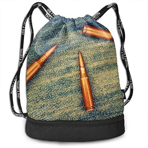 Archiba Sac à Dos à Cordon avec Poche multifonctionnelle Robuste Bullets Jeans Sac à Dos Sports Gym Épaule String Bags