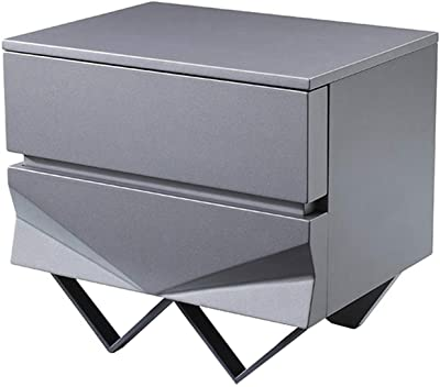 Benjara Wooden Nightstand with 2 Drawers and V Shaped Metal Legs, Gray