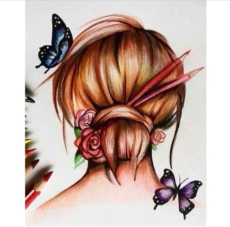 Auf Leinwand Zeichnung Malen Nach Nach Nach Zahlen Charmante Mädchen Kopf Hintergrund Schmetterling DIY Geschenk Für Kind Erwachsene-Rahmen 40X50Cm B07PF6CD99 | Realistisch  d1a68c
