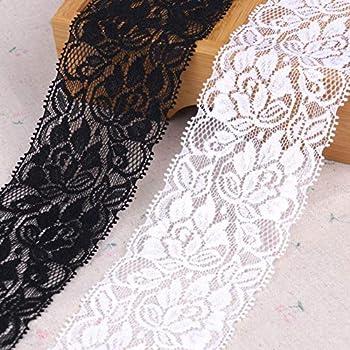 per la sposa nastro in pizzo floreale bianco e perline lungo 9,1 m nastro in pizzo intrecciato per decorazioni da matrimonio elasticizzato Yulakes nastro per artigianato largo 7/cm Black