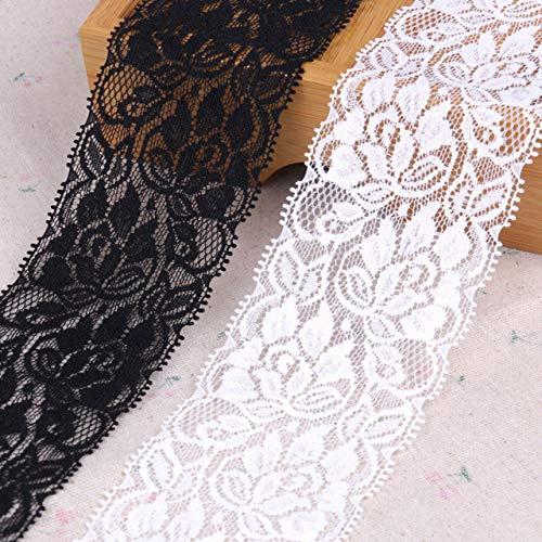 Yulakes - Cinta de encaje de color blanco con adorno de cuentas y encaje elástico trenzado de flores para boda, cinta decorativa, manualidades, cinta de molienda de 7 cm de ancho