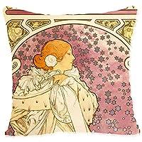 BONNIU 抱き枕 のピローケース 60X60 cm ジッパー付き・ベルベット・クッション・カバー ・ビンテージ 女 の 美術 ピローケース ・アート 装飾枕カバー - ミュシャ (Mucha) - 椿姫The Lady Of The Camellias