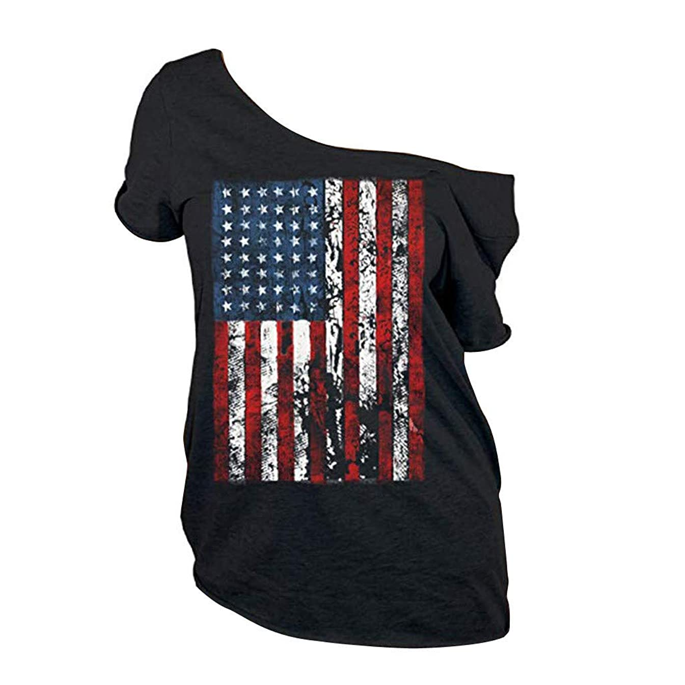 ?eneral store Women Plus Size Independence Day Short Sleeve Summer T-Shirt Tops