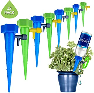 15 Pcs Automatic Plant Watering System, Foonee Upgrade Windproof Anti-Fall Automatic Watering Drip Irrigation with Slow Release Control Valve Switch, Vacation Plant Watering Device for Indoor Outdoor