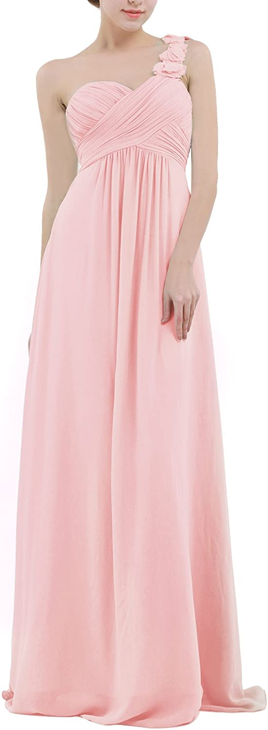 ACSUSS Women's Pleated Flower Year-end gift One Shoulder Bridesmaid Max 43% OFF Dresses Lo