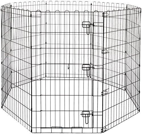 Amazon Basics - Parque de juegos y ejercicios para mascotas, paneles de valla metálica, plegable, 152,4 x 152,4 x 106,6 cm