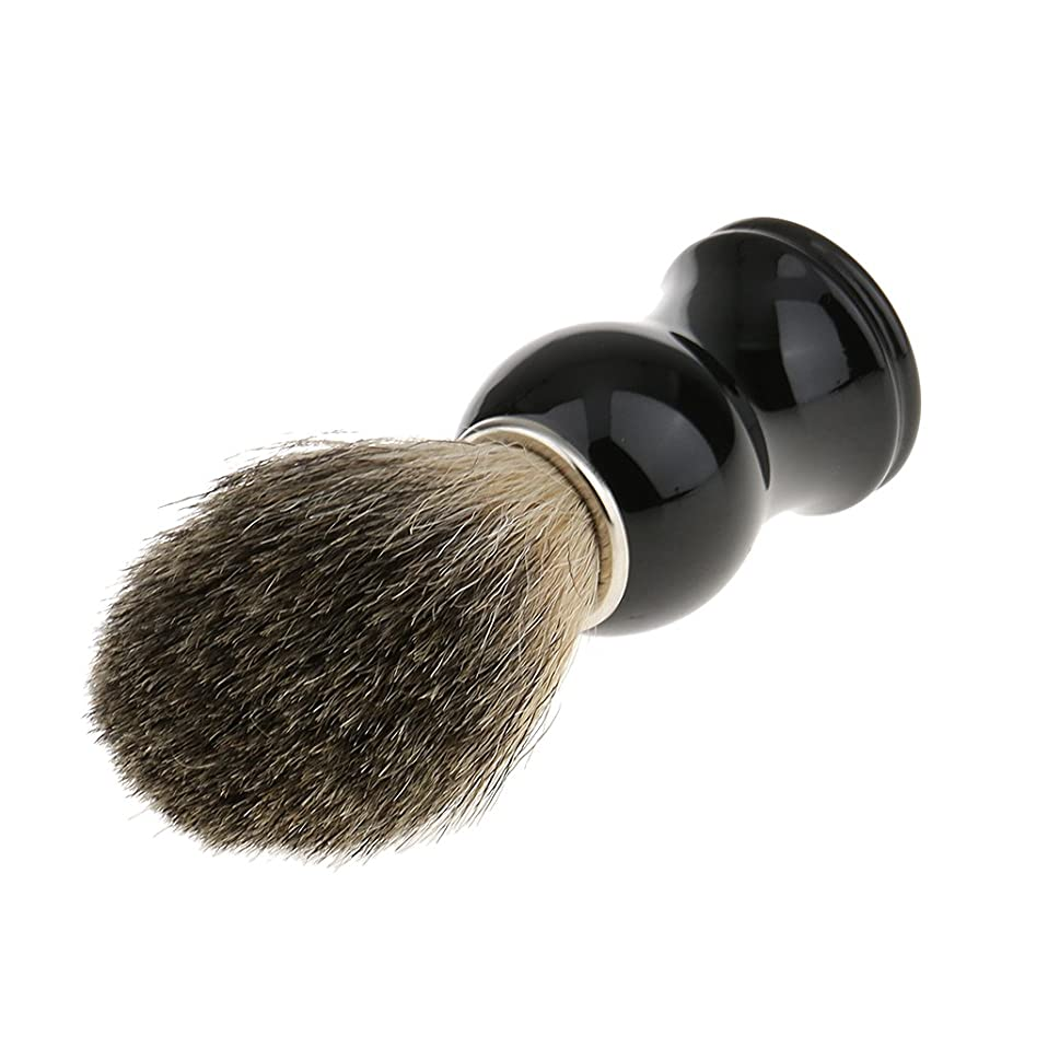 敬礼道徳教育フェザーKesoto 人工毛 シェービングブラシ 柔らかい 理容  洗顔  髭剃り 乾くやすい 11.2cm  全2色 - ブラックハンドル