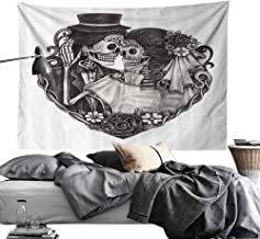 Homrkey Bedroom Living Room Dormitory Tapestry Tattoo Decor Throne of Mythological Hell Gate Artisan Afterlife Scene Death God Sin Souls Wall Hanging W80 x L60 Grey White