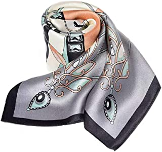 100% Pure Mulberry Silk Square Scarf for Hair-27''x27''- Soft Breathable Lightweight Satin Silk Neckerchief Headscarf