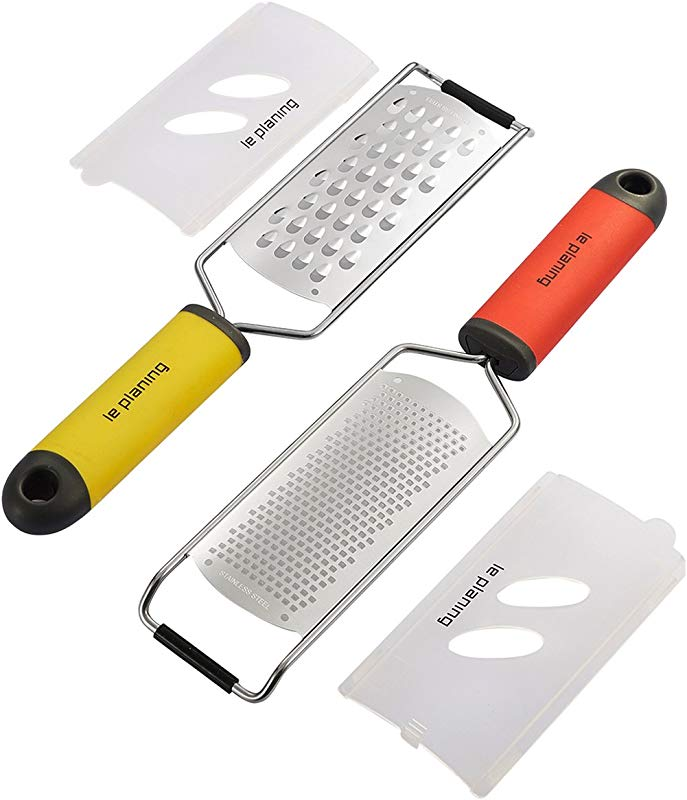 LE PLANING Citrus Lemon Zester 2 Piece Set 18 8 Stainless Steel Cheese Grater Soft Handle Cleaning Brush