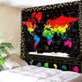 AMBZEK World Map Tapestry Retro Cool Colorful Black 59Hx78W Inch Watercolor College Students Geography Educational Travel Route Countries Capital Earth Art Wall Hanging Bedroom Living Room Dorm Decor Fabric