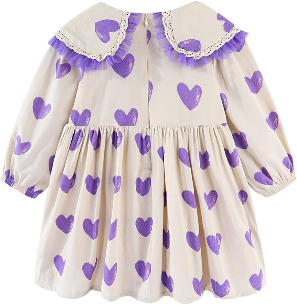 Mud Kingdom Little Girls Heart Dress with Lace Collar Long Sleeve Casual