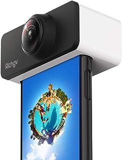 Richgv 360°全方位パノラマカメラ、広角 魚眼 ダブルレンズ iPhoneに刺すだけで360度撮影可能 旅行·パーティー·自撮り·SNSシェアー (iPhone X/XS用)