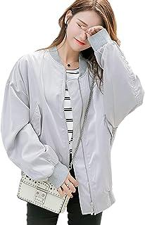 KEIMI 韓国ファッション フライトジャケット レディース 春秋 アウター 長袖 ジャケット ブルゾン コート シンプル おしゃれ 刺繍 大きいサイズ ゆったり