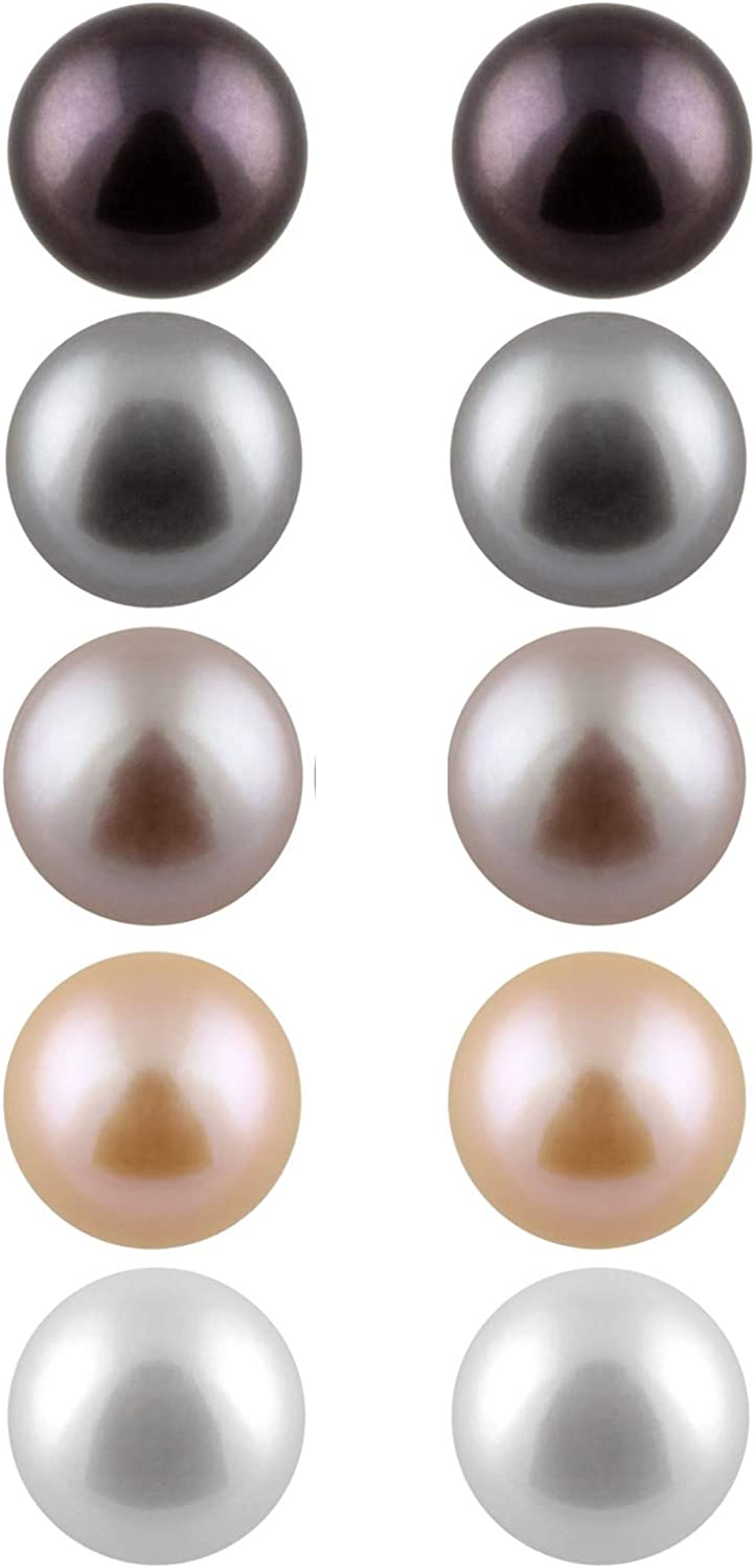 Splendid Pearls Boxed Set 5 Genuine Freshwater 7-8mm Pairs Animer and price revision Trust Cultu