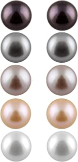 Boxed Set 5 pairs 8mm Genuine Freshwater Cultured Pearl Stud Earrings in 925 Sterling Silver