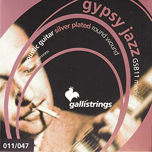 Galli Strings GSB11 GYPSY JAZZ Silver Plated Round Wound Medium Acoustic Guitar Strings
