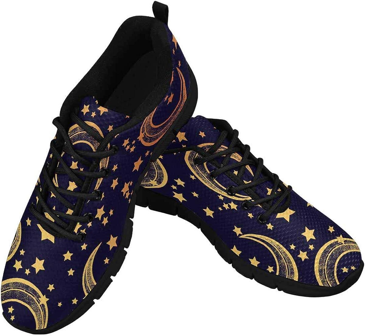 InterestPrint Moon with Stars Women's Athletic Walking Shoes Breathe Comfort Mesh