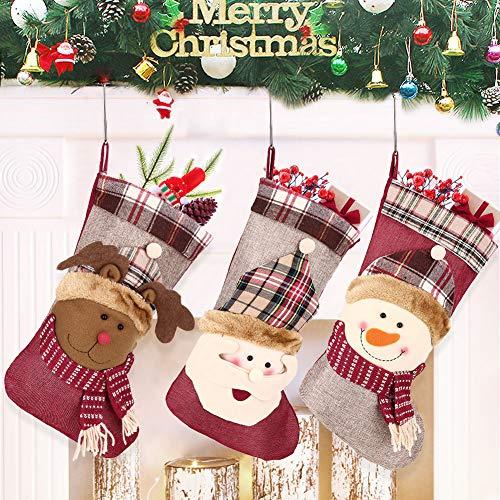 Weihnachtsstr/ümpfe Rot Plaid, 46cm Weihnachtsstrumpf Weihnachtsdeko Weihnachten Geschenktasche Weihnachsstrumpf H/ängende Str/ümpfe f/ür Weihnachtsdeko Geschenk Christmas Stockings H/ängende Str/ümpfe
