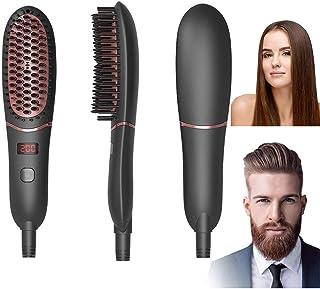BIKUUL Hair Straightener Brush, Beard Straightener for Men's Medium Long Beard, LED Display, Ceramic Heating, Adjustable T...