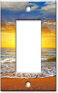 Art Plates 1-Gang Rocker (Decora) OVERSIZE Switch Plate/OVER SIZE Wall Plate - Bright Sunset at the Beach