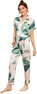 Milumia Women's Pajamas Set Button Down Sleepwear Short Sleeve Nightwear Pants Loungewear