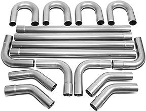 DNA MOTORING ZTL-25RAW 16Pcs 2.5 Inches OD Custom DIY Mandrel Exhaust Pipe Straight & U Bend Tube Kit,Metallic